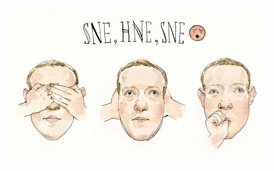 Zuckerberg Monkeys Around Painting by Barry Blitt