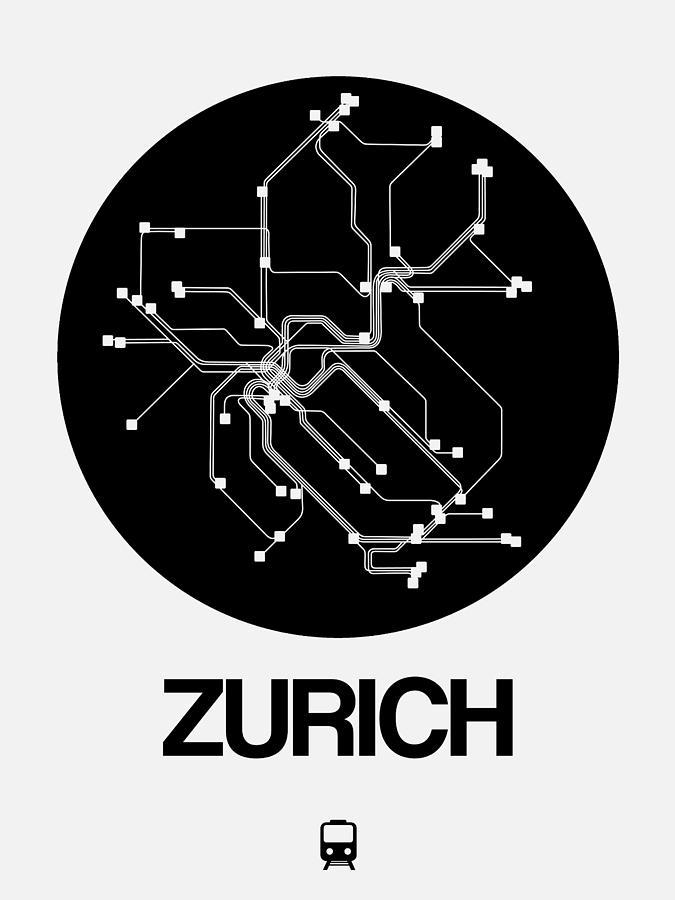 Vacation Digital Art - Zurich Black Subway Map by Naxart Studio