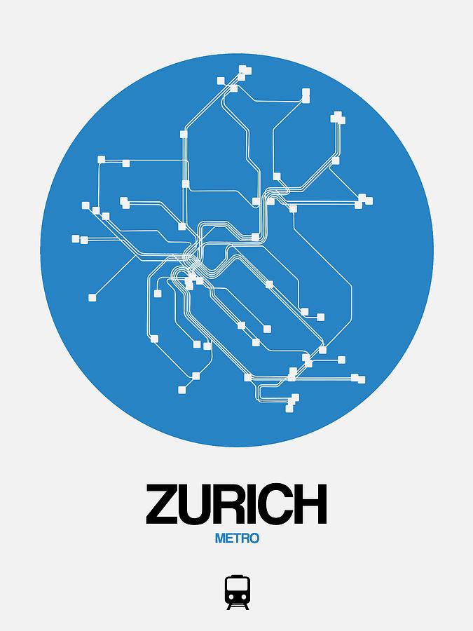 Vacation Digital Art - Zurich Blue Subway Map by Naxart Studio