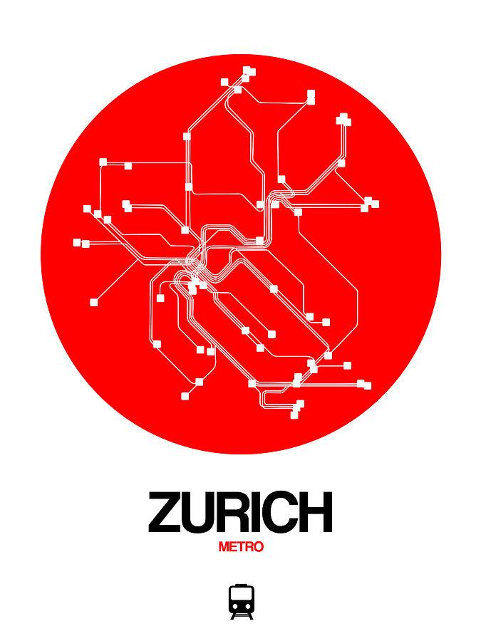 Vacation Digital Art - Zurich Red Subway Map by Naxart Studio