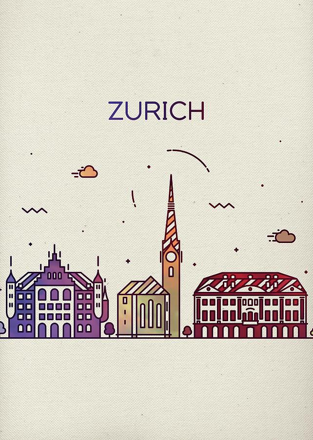 Zurich Mixed Media - Zurich Switzerland Whimsical City Skyline Fun Bright Tall Series by Design Turnpike