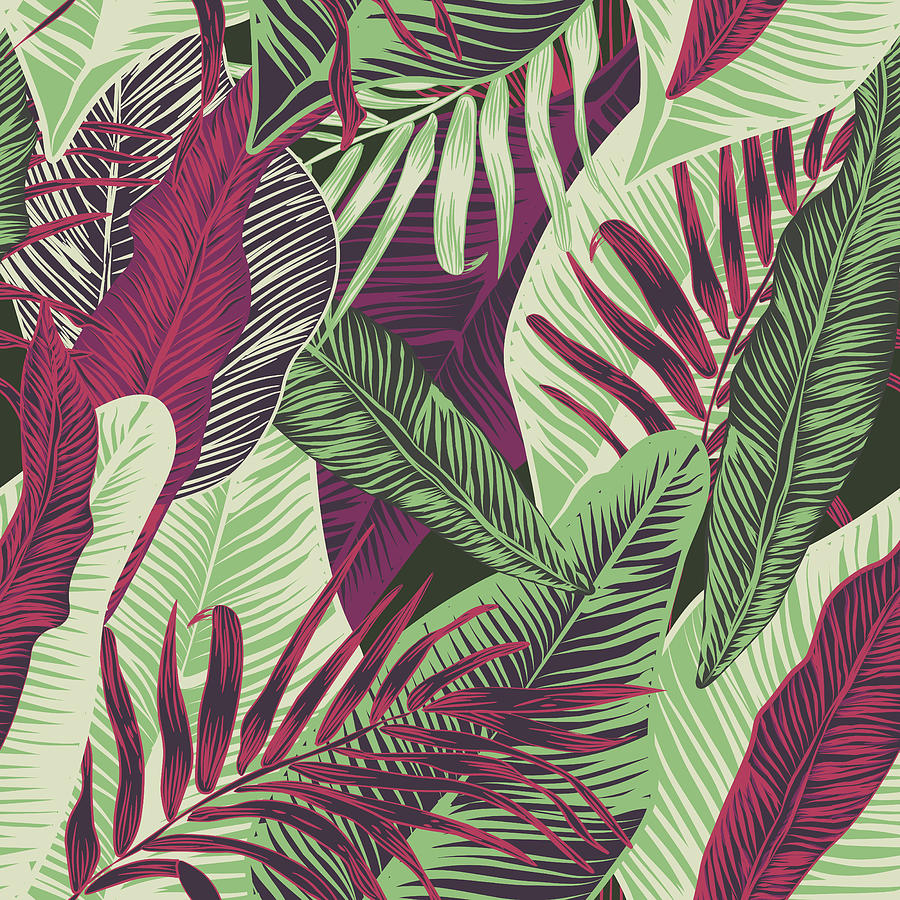 , Seamless, Tropical, Exotic, Trendy, Stylish, Trendy, Pattern Of Exotic, Tropical Plants, And Shades Of Green. Applicable In Advertising Prints, Printing. Drawing