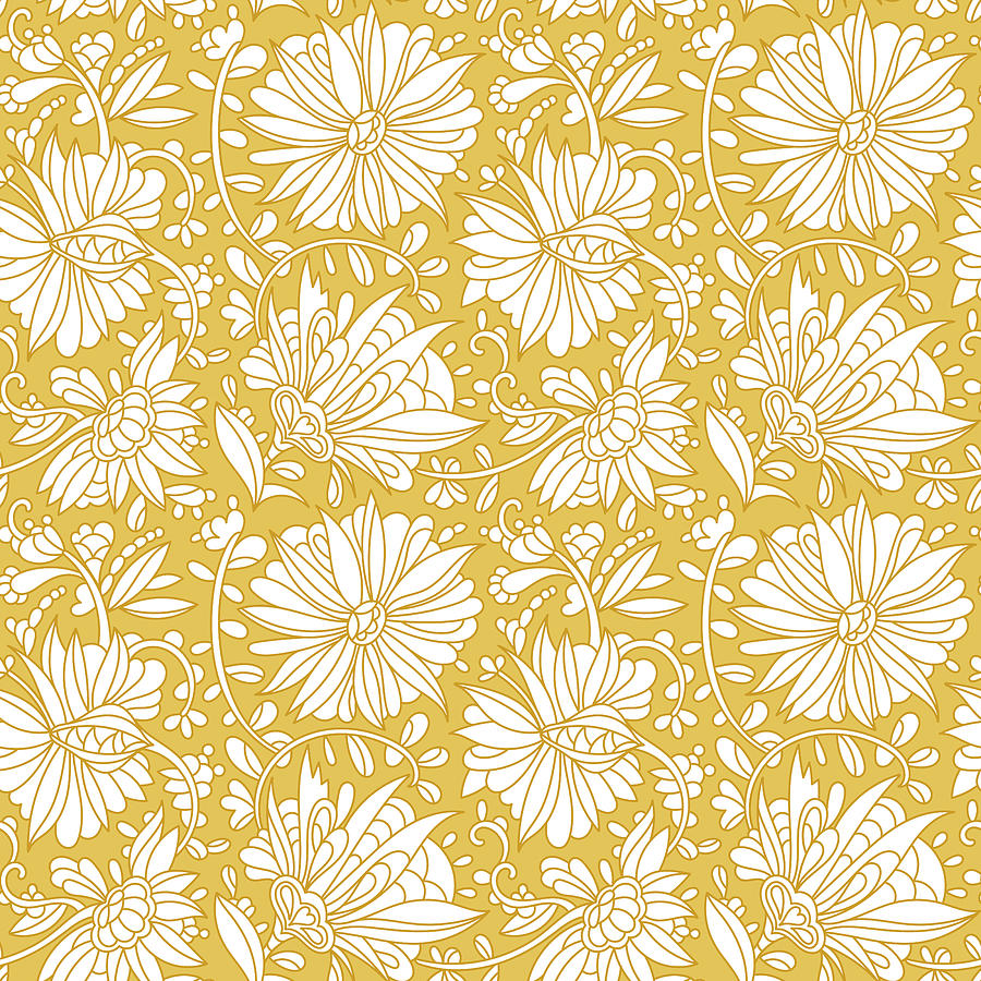 Abstract Hand Drawn Flower Pattern. Doodle Floral Ornament. Seamless Golden Flowers Background. Drawing