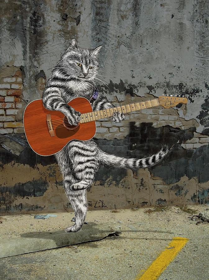 Acoustic Cat Guitar Drawing