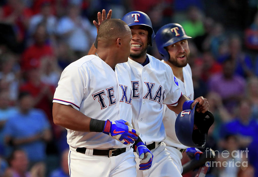 Adrian Beltre, Elvis Andrus, and Nomar Mazara Photograph by Tom Pennington