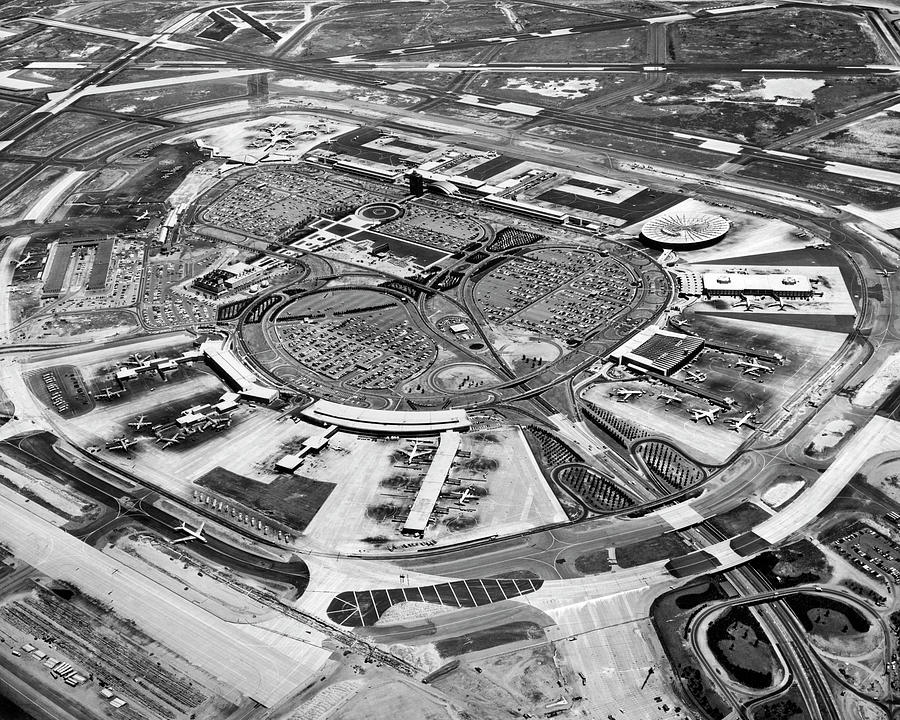 1960s Photograph - Aerial View Of JFK Airport 2 by Underwood Archives