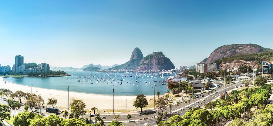 aerial view on sugar loaf mountain in Bay of Rio de Janeiro Photograph by Golero