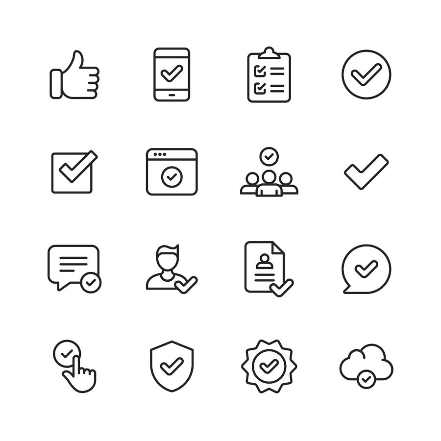 Approve Icons. Editable Stroke. Pixel Perfect. For Mobile and Web. Contains such icons as Approve, Agreement, Quality Control, Certificate, Check Mark, Achievement, Guarantee. Drawing by Rambo182