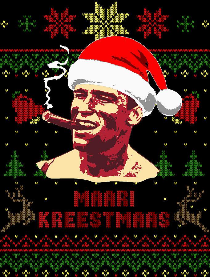 Santa Digital Art - Arnold Schwarzenegger Merry Christmas by Filip Schpindel