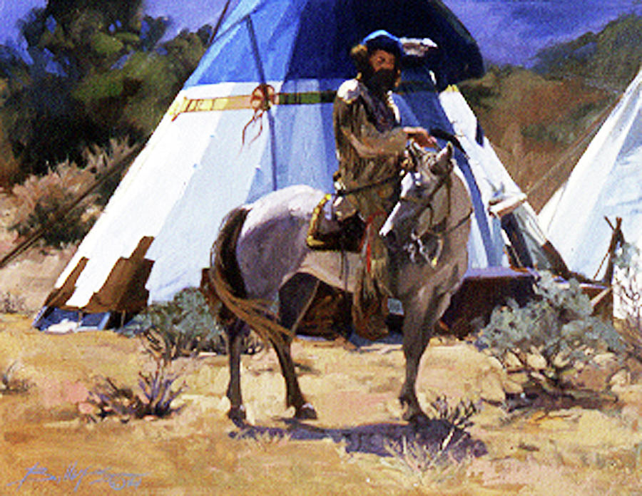 Mountain Man Painting - At a Friends Lodge by Betty Jean Billups