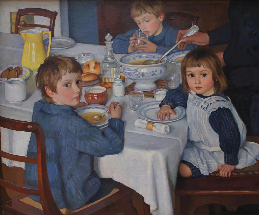 At Breakfast Painting by Zinaida Serebryakova