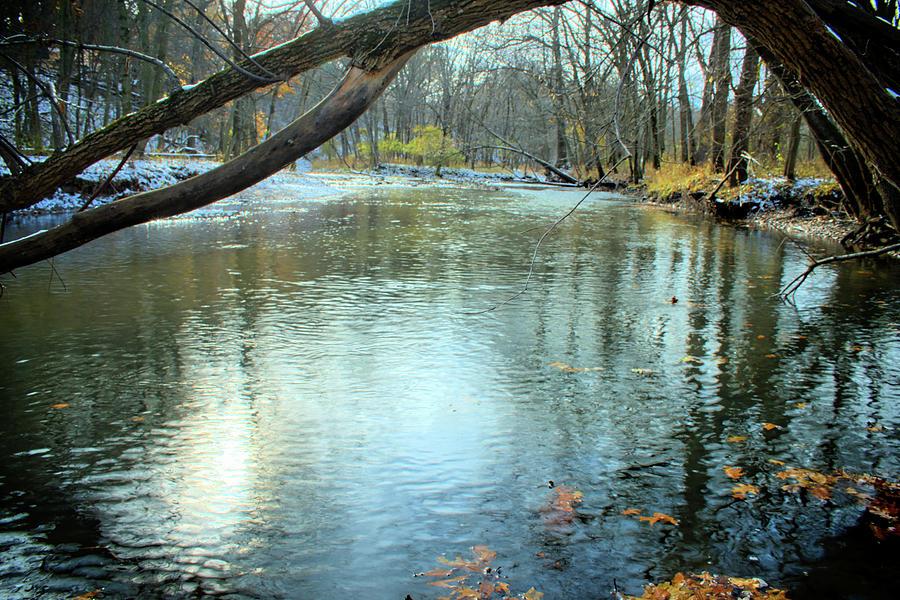 River Photograph - Autumn Floats Away 1 by Bonfire Photography