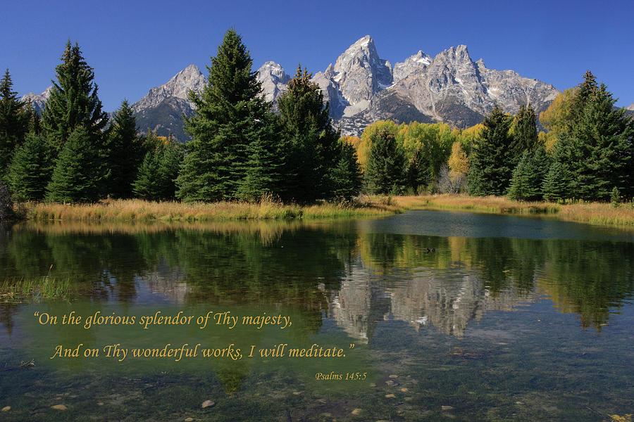 Autumn Mountain Reflection With Verse Photograph
