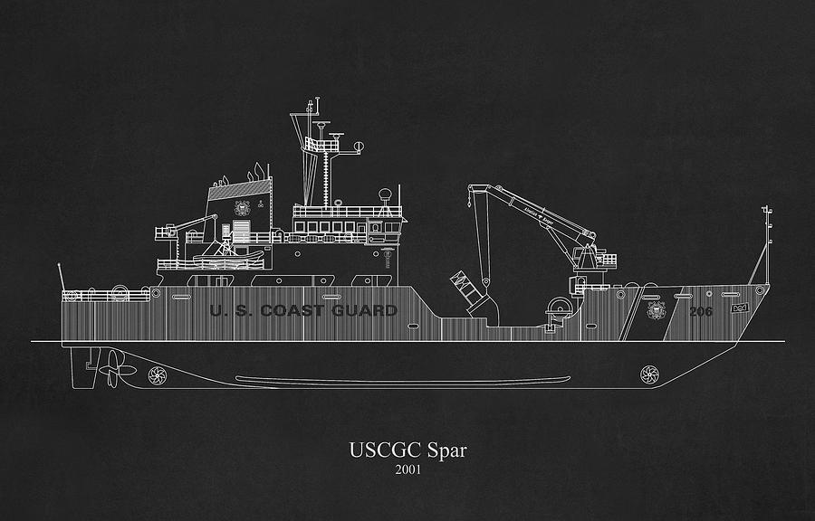 bk02 - United States Coast Guard Cutter Spar wlb-206 by JESP Art and Decor