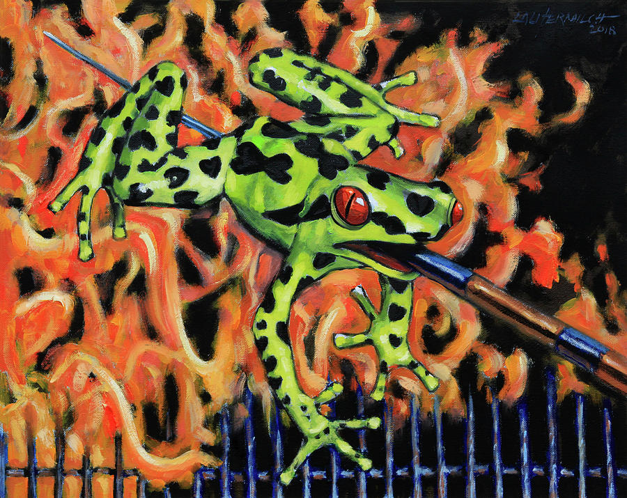 Frog Painting - Bad Froggy in Hell by John Lautermilch