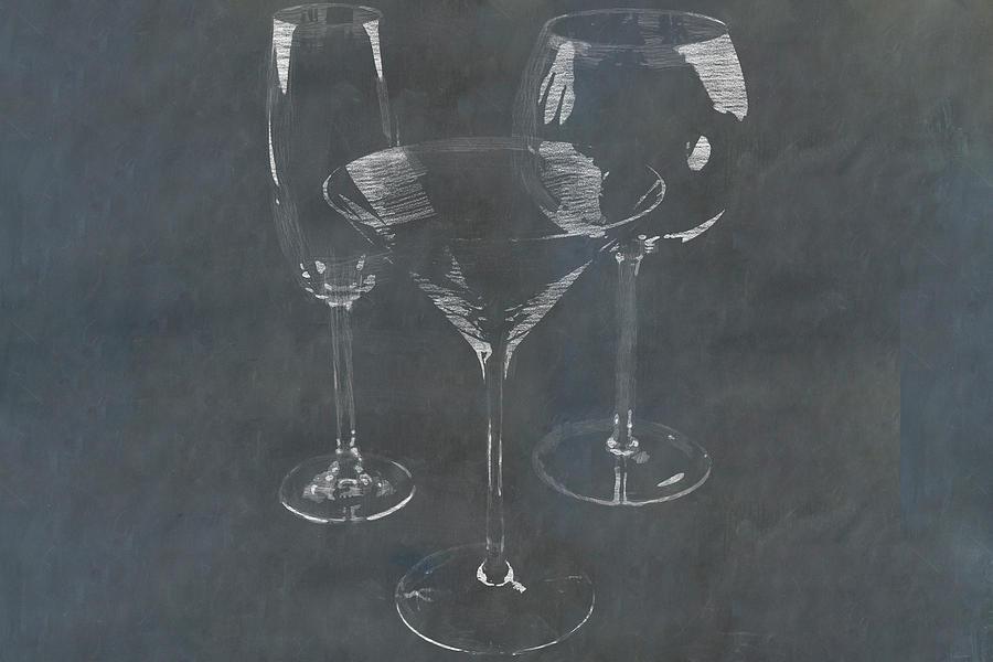 Bar Glassware Sketched In Chalk On Blackboard Photograph