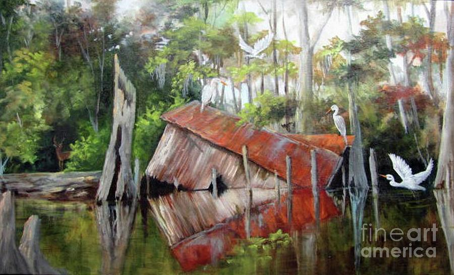 Houses Painting - Bayou Birds  by Barbara Haviland