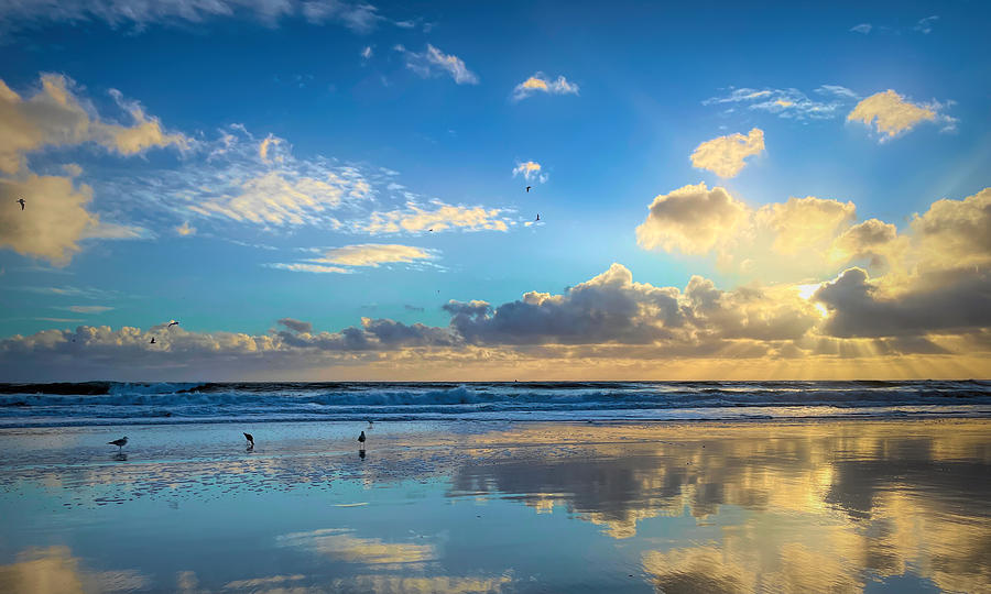 Sunset Beach Reflections Photograph