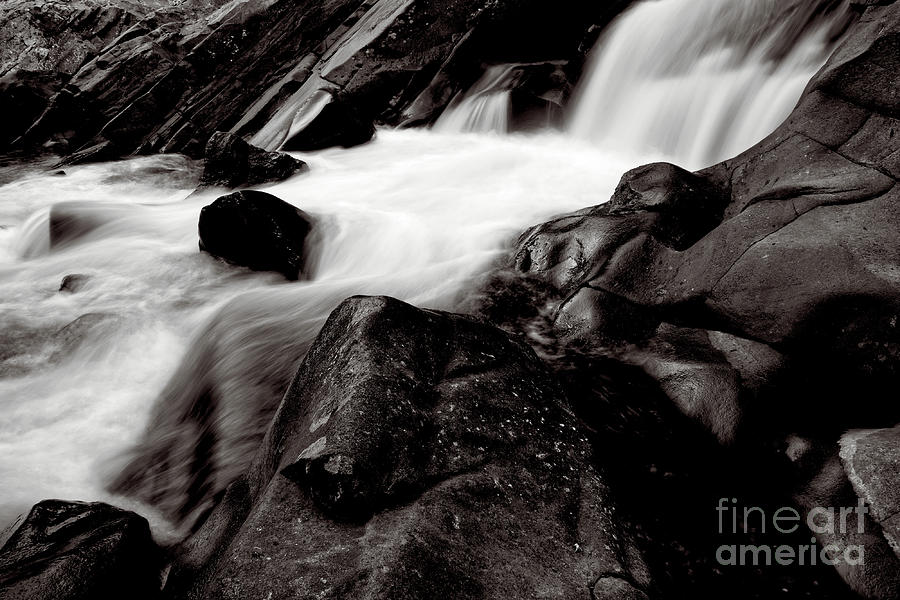 The Sinks Photograph - Black And White Waterfall by Phil Perkins