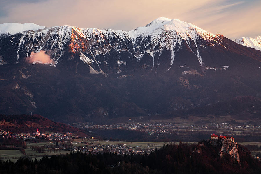 Bled castle and Mt Stol seen from Mala Osojnica viewpoint. by Ian Middleton