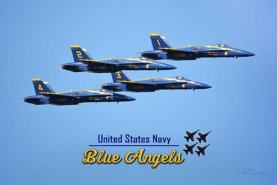 Blue Angels Side View Transition to Diamond Formation by Brian Tada