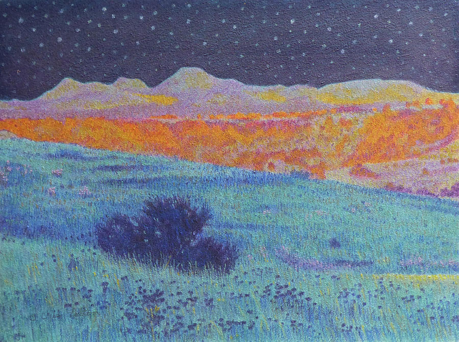 North Dakota Painting - Blue Prairie Midnight by Cris Fulton