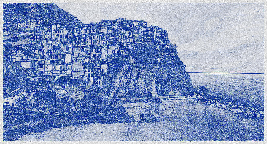 Blueprint drawing of Cinque Terre 3 Digital Art by Celestial Images