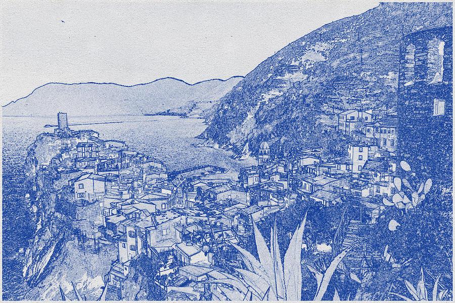 Blueprint Drawing Of Cinque Terre 4 Digital Art