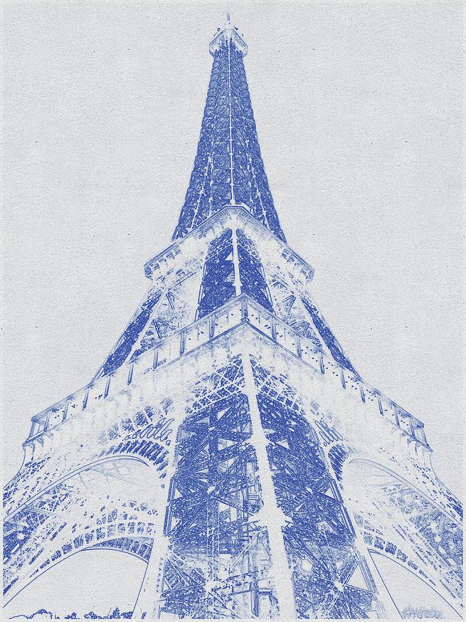 Blueprint Drawing Of Eiffel Tower Digital Art