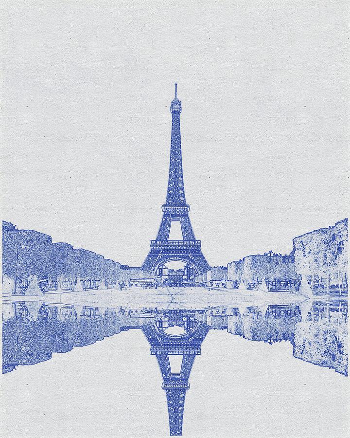 Blueprint drawing of Eiffel tower, Paris, France  Digital Art by Celestial Images