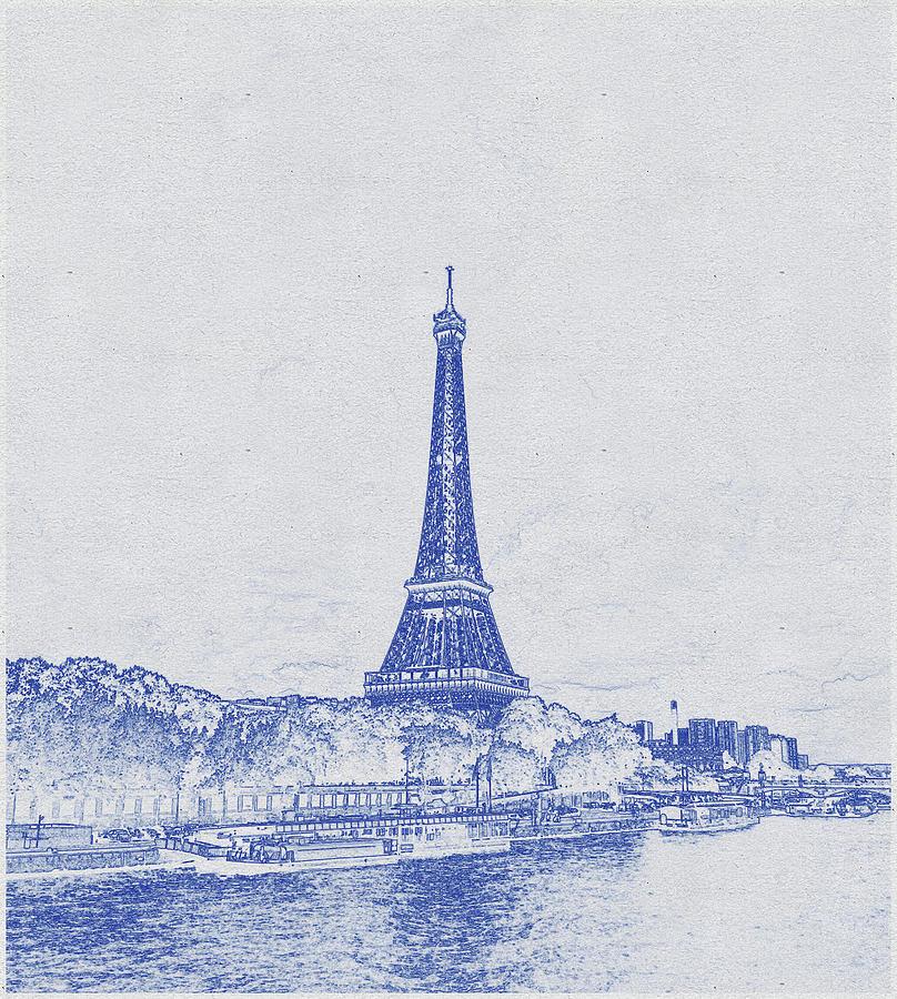Blueprint Drawing Of Eiffel Tower_0011 Digital Art