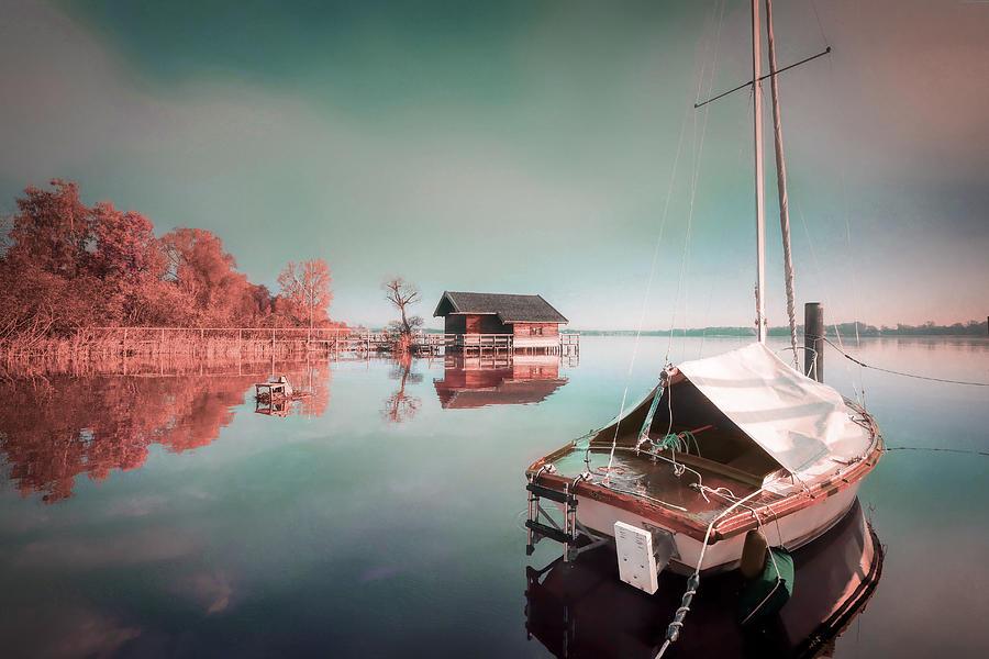 Boat House And Sailboat - Surreal Art By Ahmet Asar Digital Art