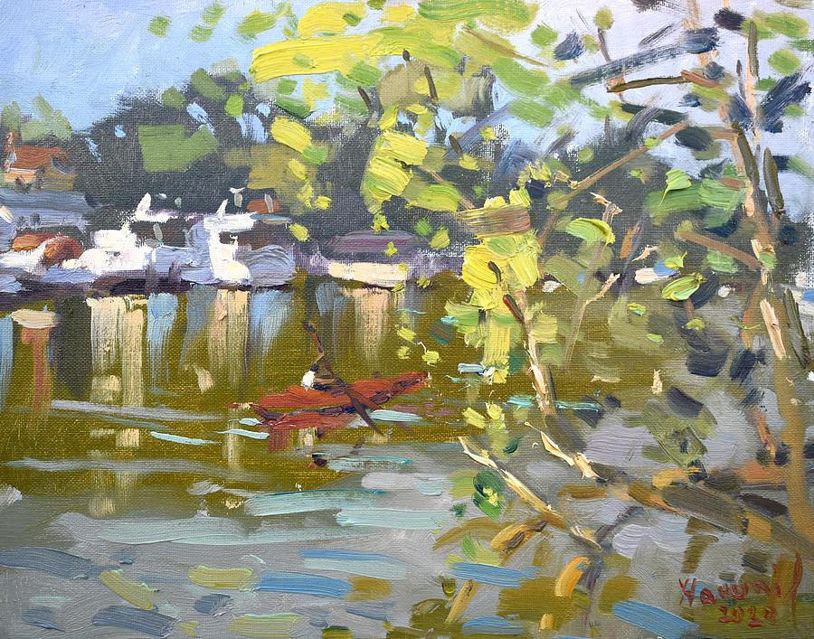 Canal Painting - Boats at North Tonawanda Canal by Ylli Haruni