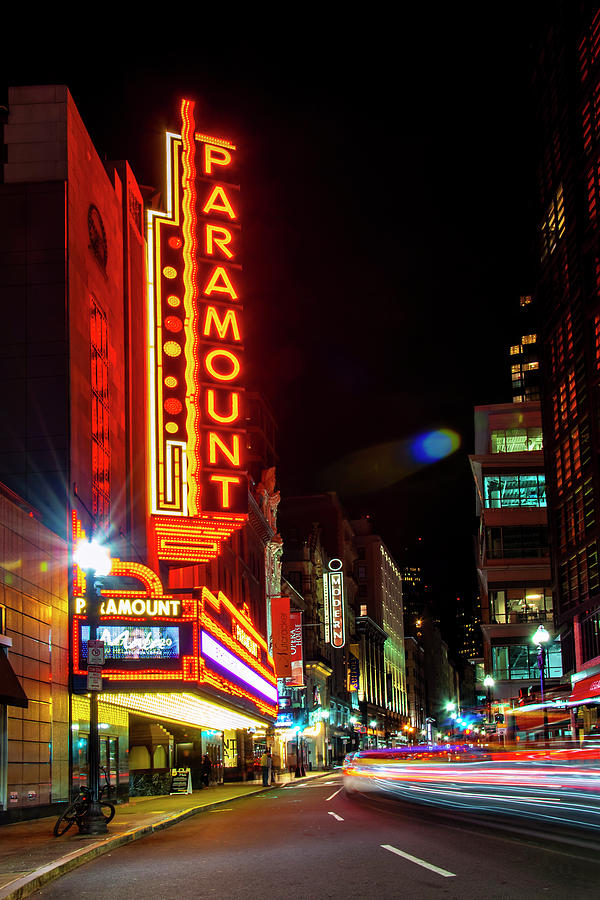 Boston Theatre District at Night by Joann Vitali