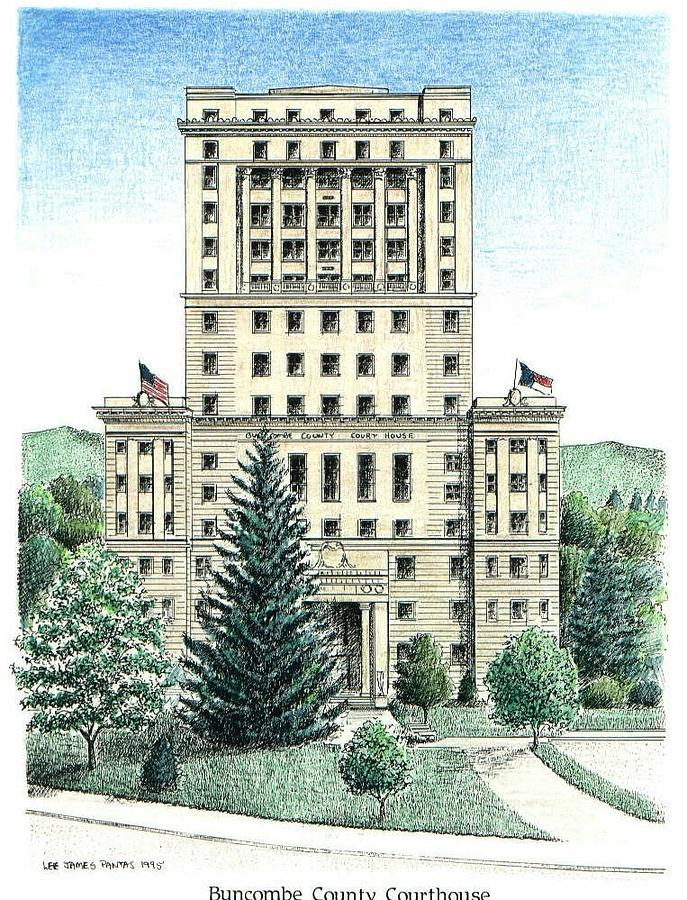 Courthouse Drawing - Buncombe County Courthouse by Lee Pantas