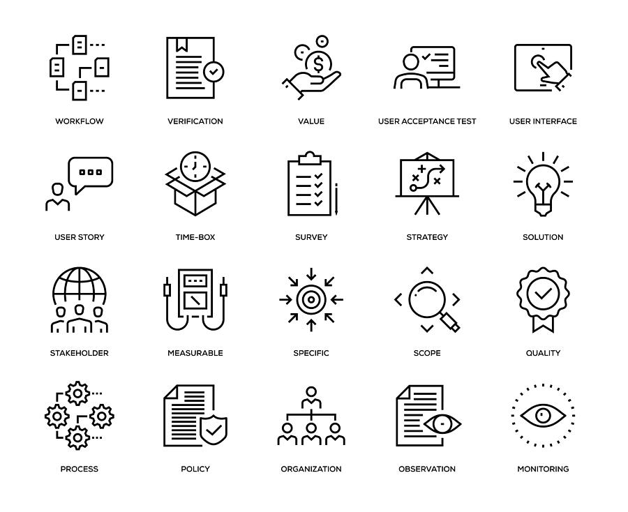Business Analysis Icon Set Drawing by Enis Aksoy
