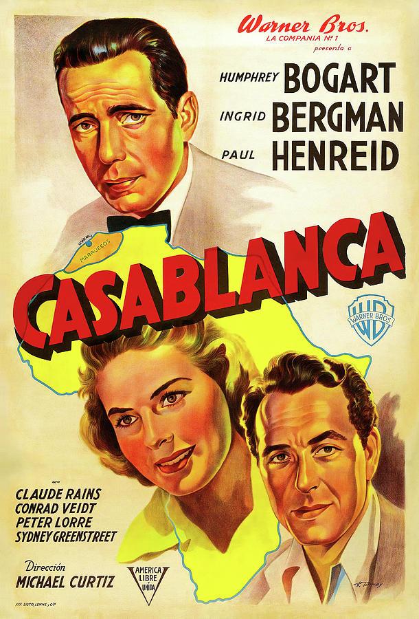 casablanca, With Humphrey Bogart And Ingrid Bergman, 1942 Mixed Media