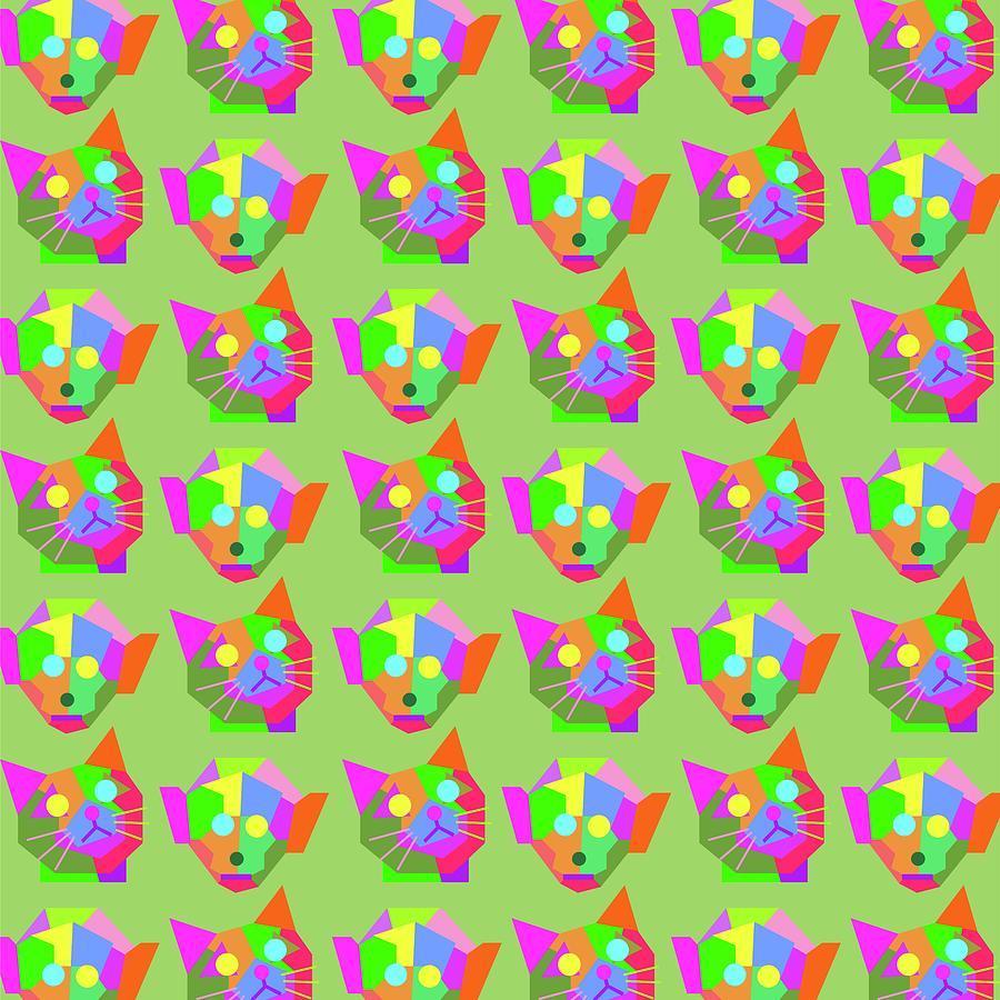 Cat Monkey Pattern Wpap Style Green Background Digital Art