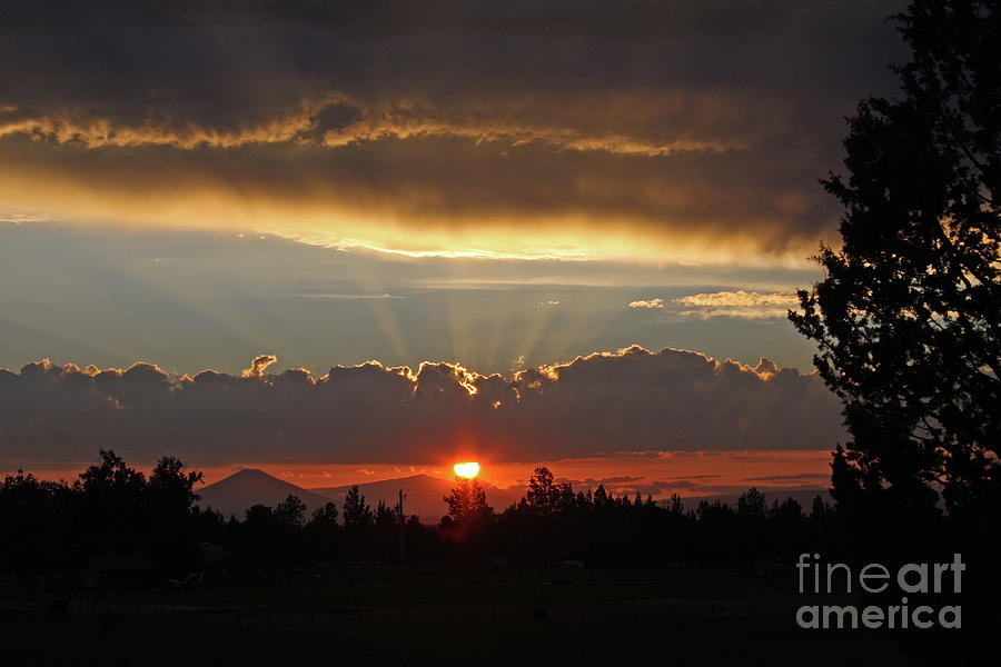 Sunset Photograph - Central Oregon Sunset by Gary Wing