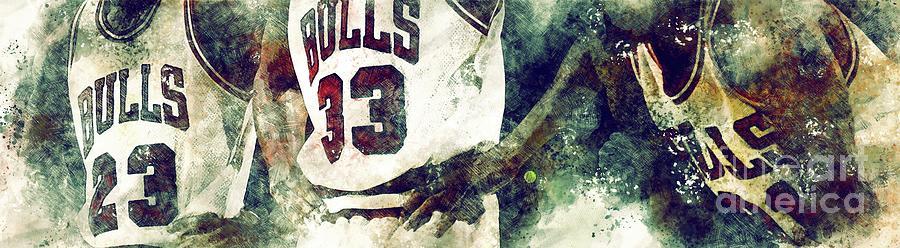 Chicago Bulls Player,basketball Team,sport Poster,nba Art Print Drawing