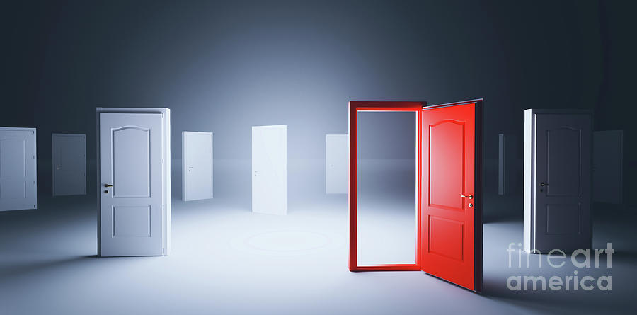 Choose Open Door. Choise And Decision In Life Photograph