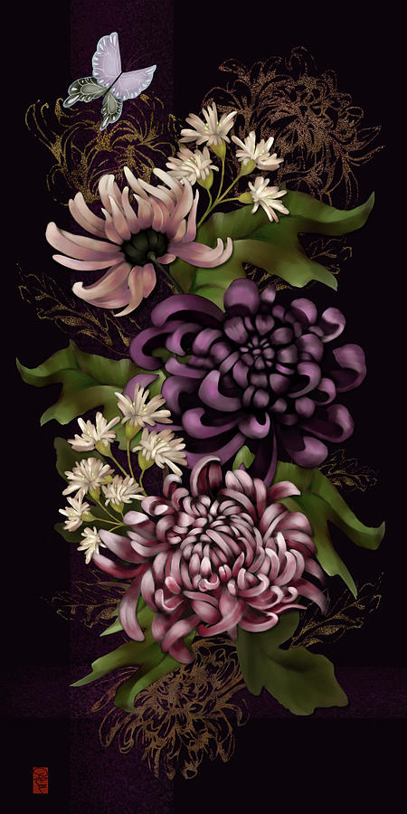Chrysanthemums And Butterfly Modern Chinoiserie Dark Purple Digital Art