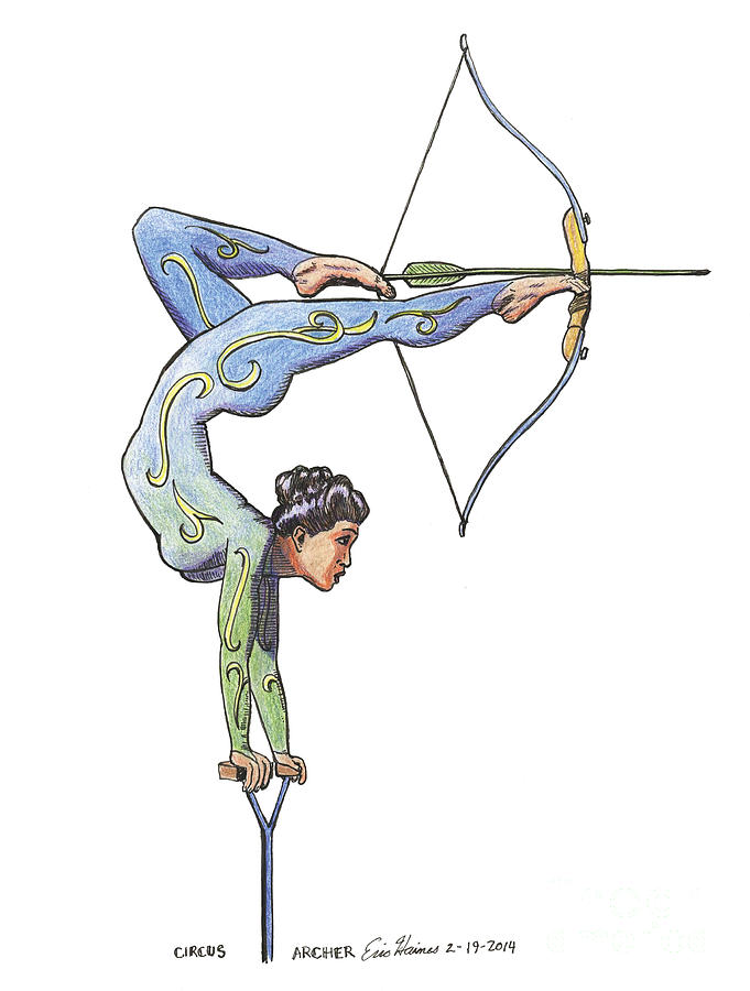 Circus Drawing - Circus Archer by Eric Haines
