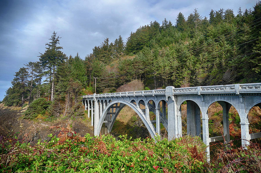 Classic Oregon coast bridge designed by McCullough  by Steve Estvanik