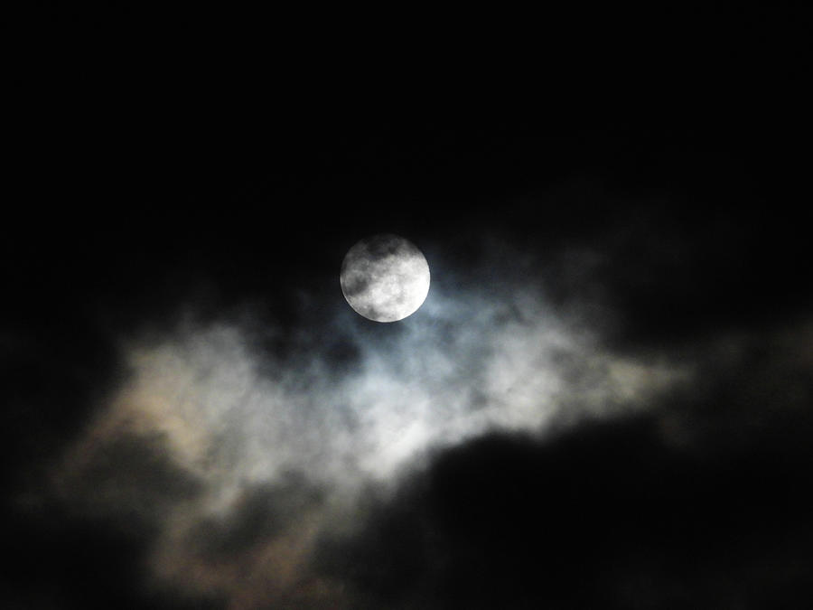 Cloudscape On A Snow Moon Night Photograph