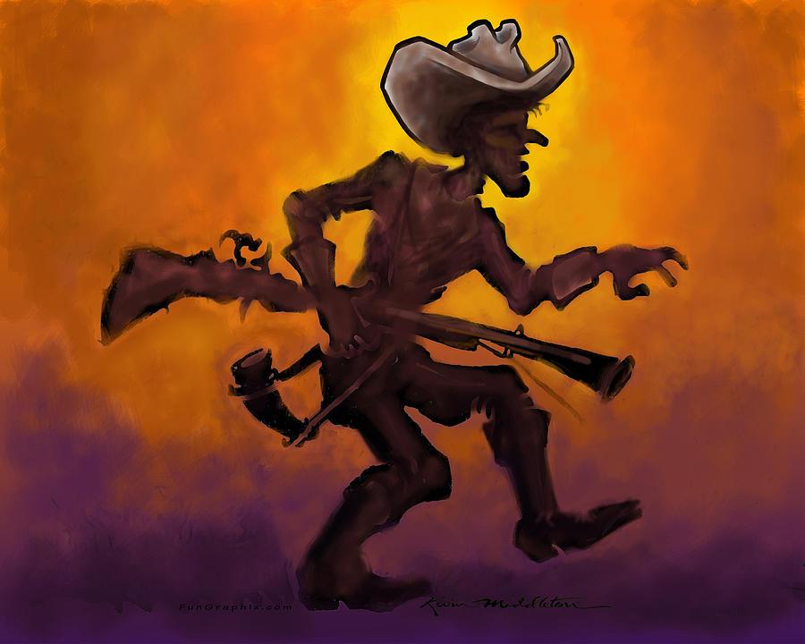Cowboy At Sunset Digital Art