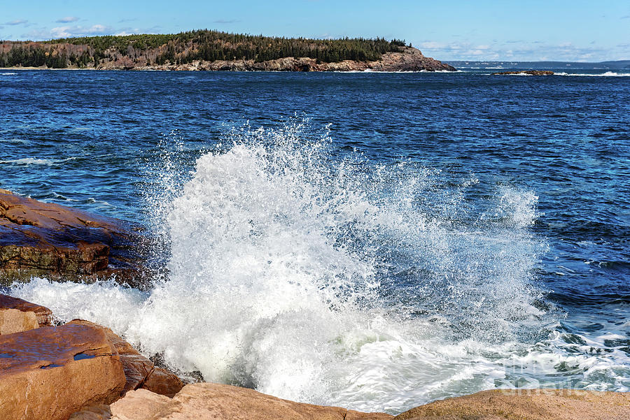 Crashing Waves at Monument Cove, Acadia National Park by Anita Pollak