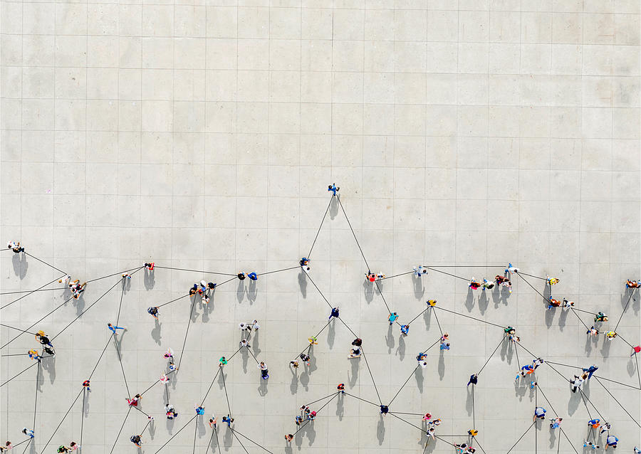 Crowd from above forming a growth graph Photograph by  Orbon Alija