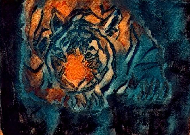 Tiger Painting - Crush by Crystal Hubbard