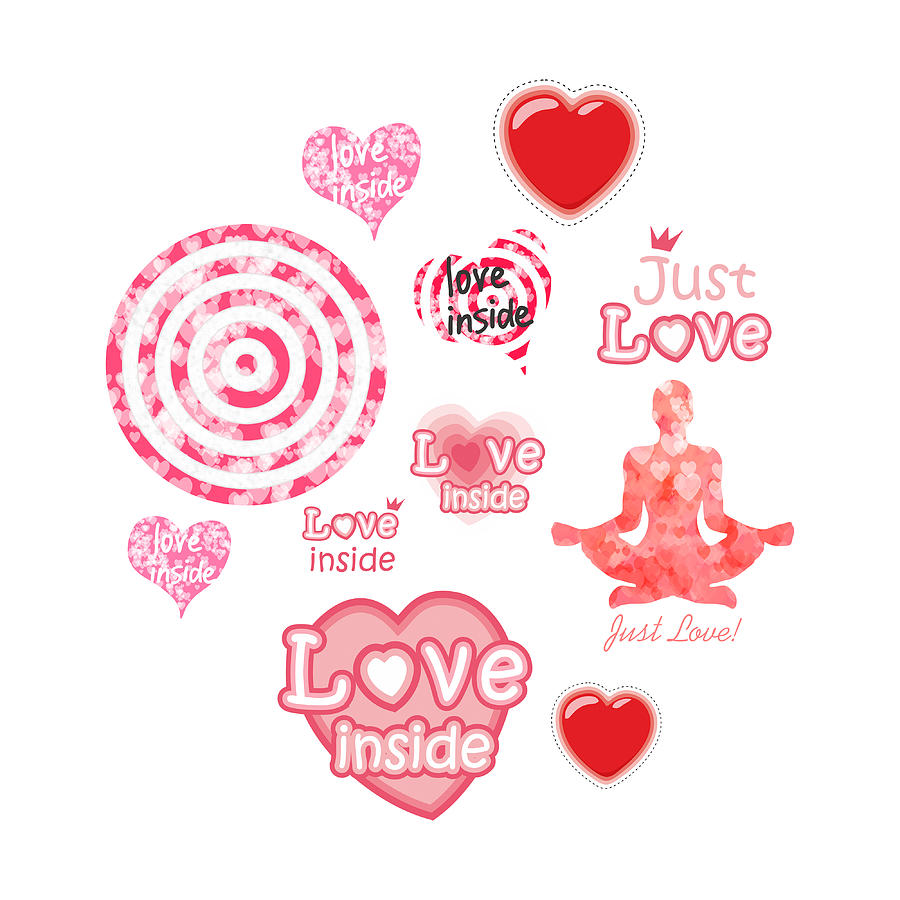 Heart Digital Art - Cute set of hearts and symbols for a Valentines day or wedding gift by Elena Sysoeva